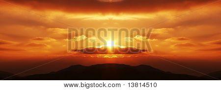 Sunset fantastic scenery