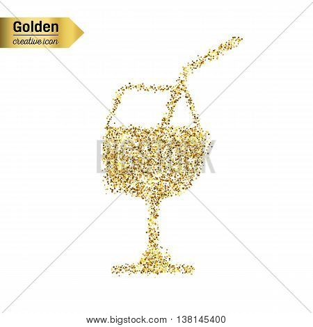 Gold glitter vector icon of a glass of drink isolated on background. Art creative concept illustration for web, glow light confetti, bright sequins, sparkle tinsel, abstract bling, shimmer dust, foil.
