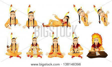 Set of illustrations of american indians holding white blank board. American indians doing yoga, smoking pipe, playing chess, writing with a feather. Vector illustration isolated on white background.