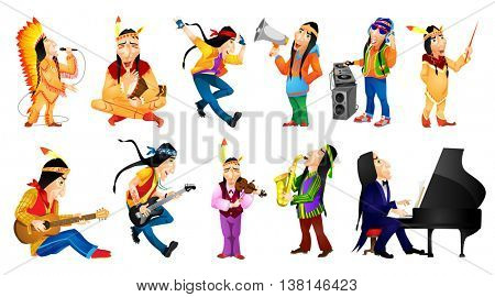 Set of american indians conducting with baton, singing, dancing, playing guitar, saxophone, piano, violin, tam tam, mixing music on turntables. Vector illustration isolated on white background.