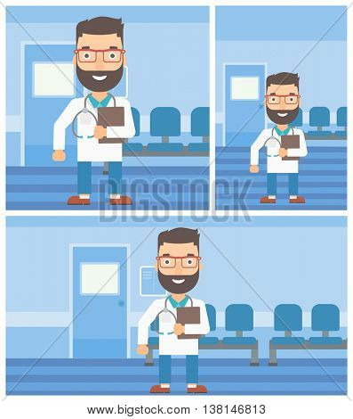 A hipster friendly doctor with stetoscope standing in hospital corridor and carrying folder of patient or medical information. Vector flat design Illustration. Square, horizontal, vertical layouts.