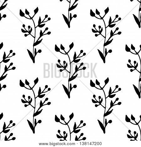 hand drawn seamless pattern with leafy elements