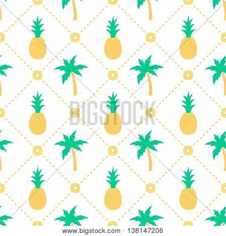 Pineapples and palm trees seamless pattern design
