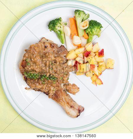 Pork chop steak / cooking porkchop steak concept