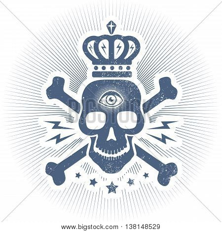 Vintage vector logo with skull and crown