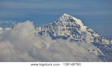 Famous mountain in the Swiss Alps. Mt Monch.
