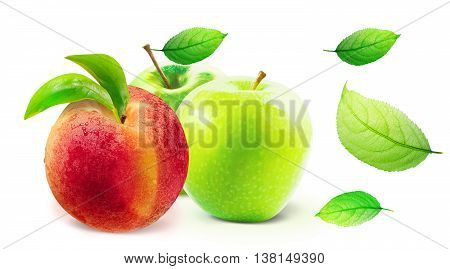 Green Apple and peach isolated on white background with clipping path. Green Apple and peach with leaves. Isolated green leaves on white with work path. Several ripe summer fruits isolated.