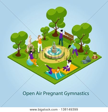 Open Air Gymnastics For Pregnant Concept. Gymnastics For Pregnant Vector Illustration.Women Fitness Decorative Illustration. Pregnant Women Fitness Isometric  Design.