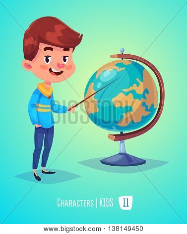 Cute Boy. Back to School isolated cartoon character with globe on yellow and blue background. Great illustration for a school books and more. VECTOR stock illustration.