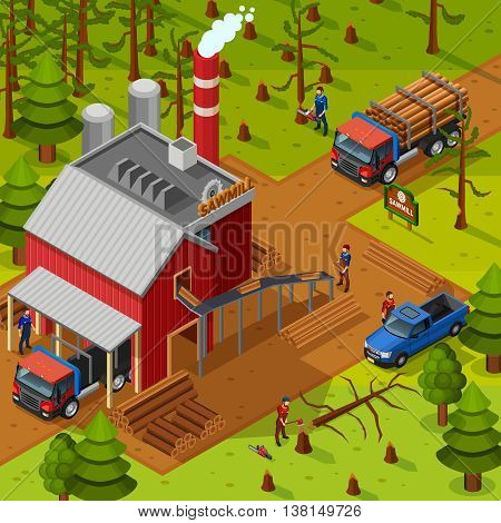 Lumberjack isometric composition with sawmill building vehicles for logs transportation and woodcutters on forest background flat vector illustration