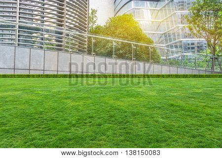 green lawn and office building exterior
