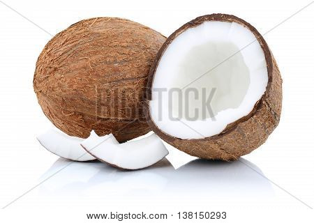 Coconut Coconuts Fruit Half Fruits Isolated On White