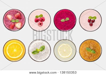 Design concept of mockup fruit smoothie and fruit juice set isolated on white background. Clipping Path included on white background.