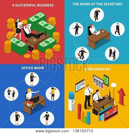 Business office work concept 4 isometric icons square poster with businessman manager secretary abstract isolated vector illustration