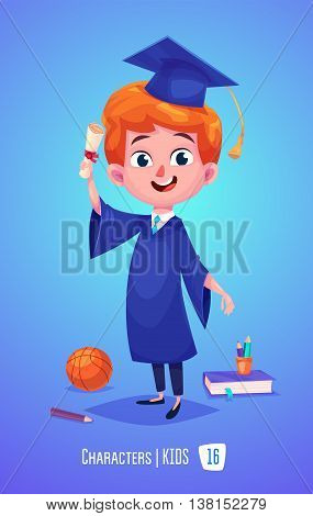 Cute Boy. Back to School isolated cartoon character with diploma book on blue background. Great illustration for a school books and more. VECTOR stock illustration.