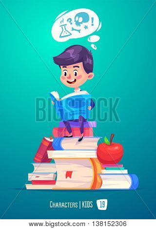 Cute Boy. Back to School isolated cartoon character with books and apple on pink background. Great illustration for a school books and more. VECTOR stock illustration.