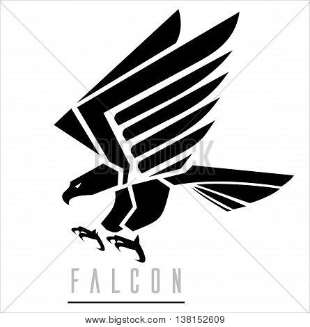Attacking Falcon Flying Eagle spread out its feather. Suitable for team Mascot team icon corporate identity community identity product identity illustration for apparel clothing sign etc.