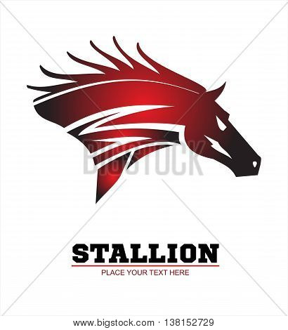 Horse horse head. Running stallion head in beautiful red maroon color.