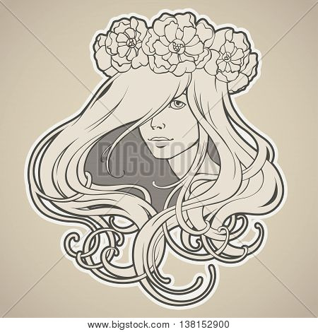 Art Nouveau styled girl with long hair in wreath