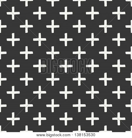 Hand drawn geometric seamless ink pattern with brush strokes. Wrapping paper. Abstract vector background. Brush strokes. Texture with crosses or pluses. Dry brush. Rough edges ink illustration.