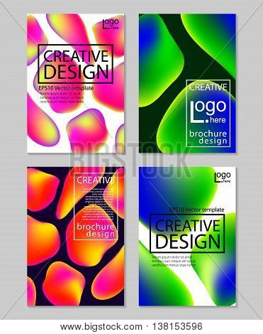 Fluid colors backgrounds set. Holographic effect. Applicable for gift card, cover, poster, brochure, magazine Vector