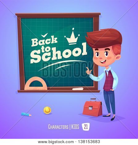 Cute Boy. Back to School isolated cartoon character near blackboard on violet background. Great illustration for a school books and more. VECTOR stock illustration.