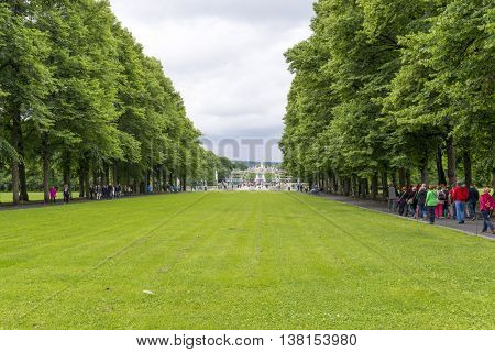 OSLO, NORWAY - JULY 1: Tourists visit the Vigeland Sculpture Arrangement in Frogner Park on July 1, 2016 in Oslo, Norway.