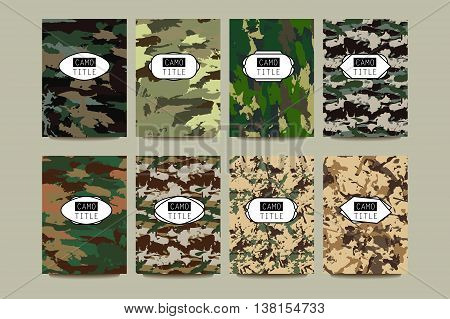 Set of Vintage Creative Cards with Camo, Camouflage Patterns. Retro Presentation for Placards, Posters, Flyers and Banner Designs. Pages include seamless pattern under mask.