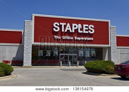 Ft. Wayne IN - Circa July 2016: Staples Inc. Retail Location. Staples is a Large Office Supply Chain V