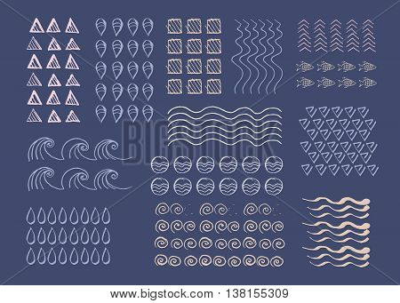 Hand drawn vector texture pattern line objects. Vector collection of hand drawn templates. Hand drawn lines arrows geometric objects waves round object. Hand drawn elements in nautical style.
