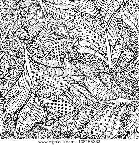 Coloring book page design with Feather Pattern. Ethnic ornament. Vector illustration with Feather in doodle style. Headwear or neckwear Pattern design. Fashion Bird Feather Pattern