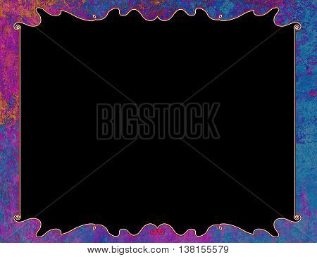 Purple grunge Vintage frame illustration with copy space