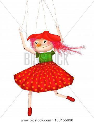 Cute funny isolated Theater puppet marionette girl