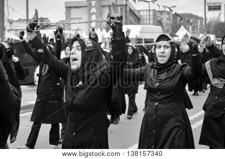 Istanbul Turkey - November 3 2014: Universal Ashura Mourning Ceremony. Day of Ashura. A Universal Ashura Mourn Ceremony was held in Istanbul to commemorate the martyrdom of Husain ibn Ali the grandson of the Prophet Muhammad and his 71 friends.