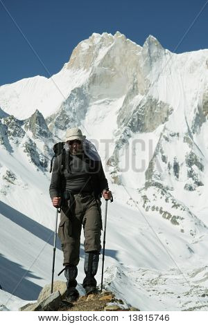 Climber going in Himalayans mountain