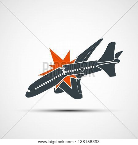 Icon plane crash. Terrorist act in the air. Stock vector illustration.
