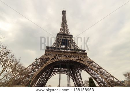 The Eiffel tower Paris wide angle view from ground