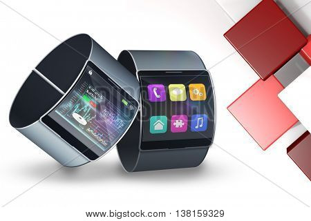 Futuristic black wrist watch with interface against abstract tile design