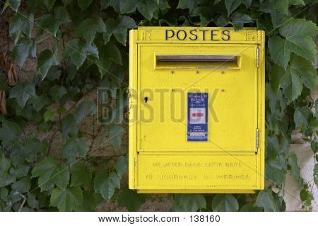 Yellow French Post Box On Wall, Chateau De Chenonceau