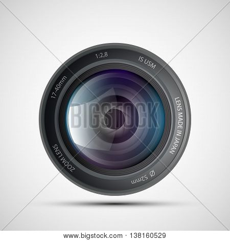 Icon of lens from the photo camera. Stock vector illustration.