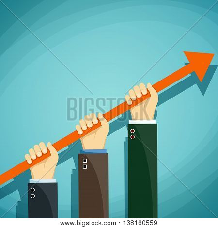 Human hands keep the growth chart. Development and success. Stock Vector cartoon illustration.