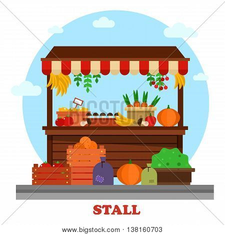Market or bazaar stall or food counter with tomato and carrot, orange and mushroom, pumpkin and lemon with price, cherry, banana hanging from above and bag of groceries or goods on the ground