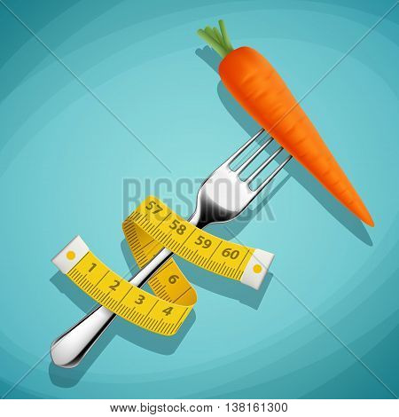 Fork with a carrot and a measuring tape. Healthy food. Weight loss and fitness. Stock vector illustration.