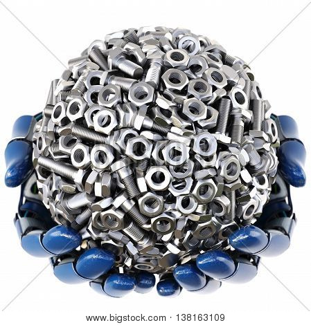 Robot's hand keeps a sphere made from nuts and bolts. isolated on white background. 3D illustration.