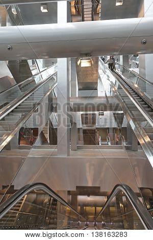 NAPLES ITALY - JUNE 25: Garibaldi Metro Station in Naples on JUNE 25 2014. New Escalators in Renovated Underground Station in Naples Italy.