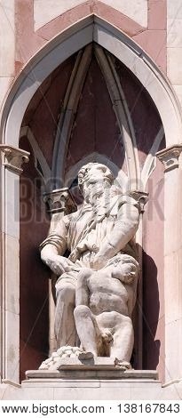 FLORENCE, ITALY - JUNE 05: Abraham Sacrificing Isaac by Donatello and Nanni di Bartolo, Campanile (Bell Tower) of Cattedrale di Santa Maria del Fiore, Florence, Italy on June 05, 2015