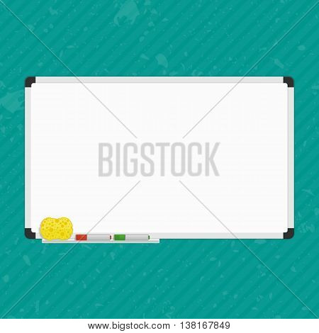 Vector Illustration of blank whiteboard. Whiteboard on wall with Marker Pens and sponge. Empty white marker board. Office Whiteboard template.