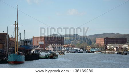 View of Bristol Harbour in South West England