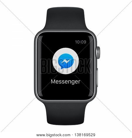 Varna Bulgaria - October 15 2015: Front view of Apple Watch Sport 42mm Space Gray Aluminum Case with Black Sport Band with new Facebook messenger message icon on the display. Isolated on white.