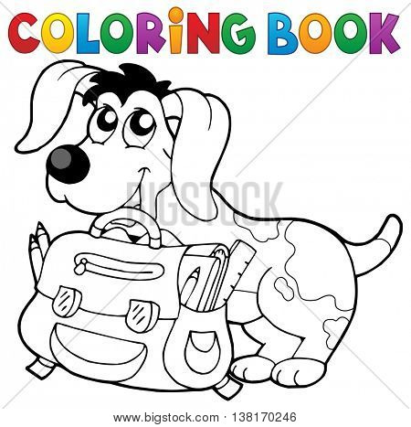 Coloring book dog with schoolbag theme 2 - eps10 vector illustration.